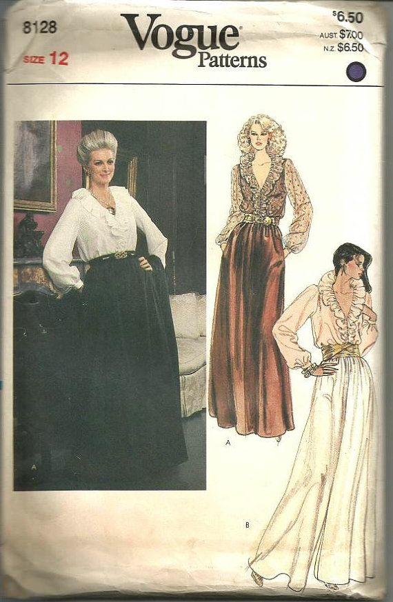 1980s Hostess Pants Plunging V Neckline Blouse Palazzo Pants Shawl ...