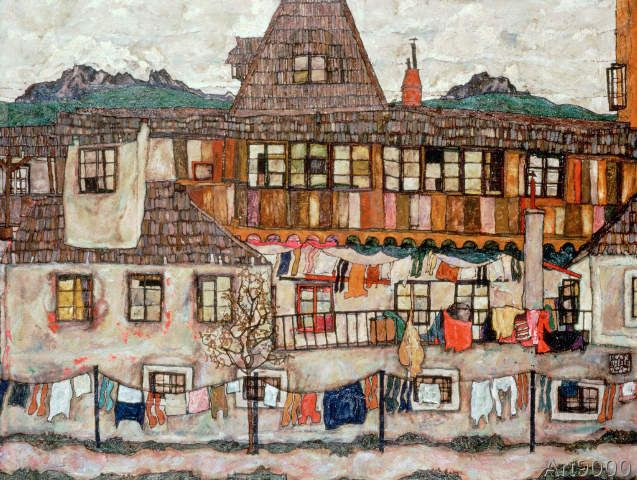 Egon Schiele - House with drying washing