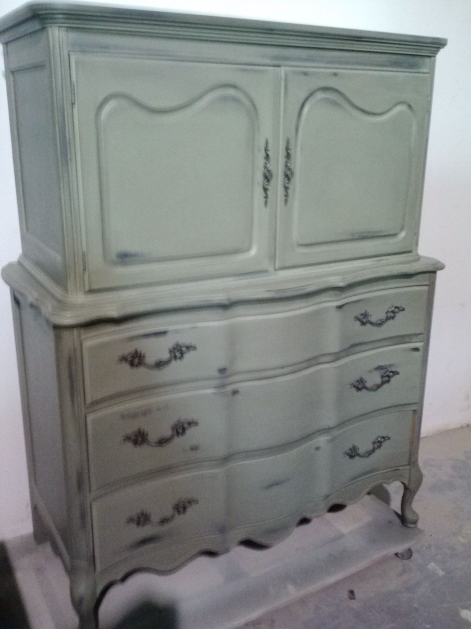 French Provincial Armoire In Olive With Black Glaze. Please See Our Vintage  Shabby Chic Unfinished Furniture Board For Available Pieces.