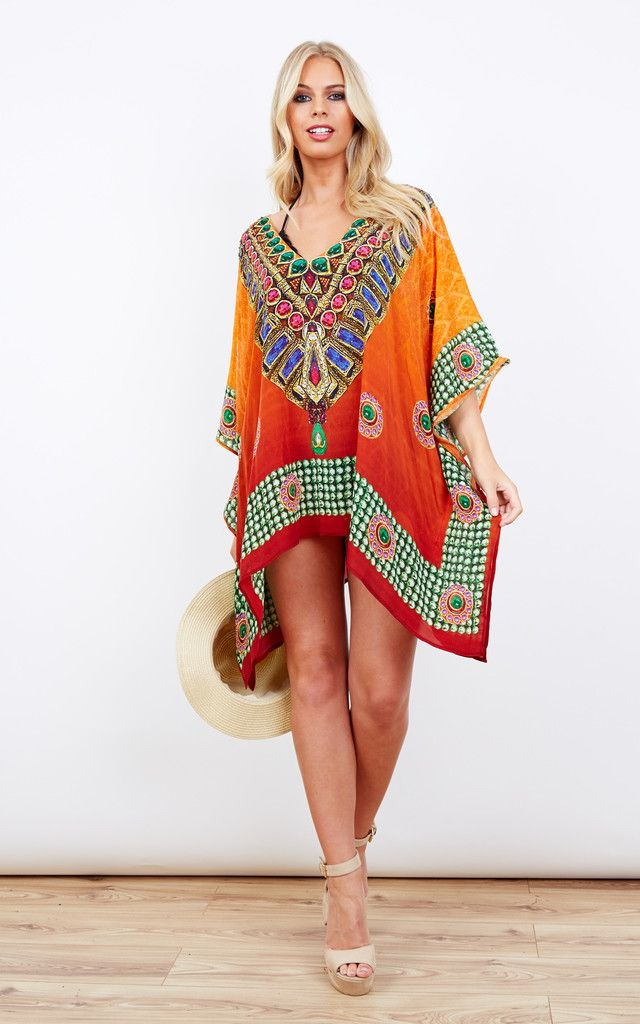 daaeabc51f Shades of Saffron, burnt oranges and rich warm browns, wear this as a loose  flowing top or a mini kaftan.