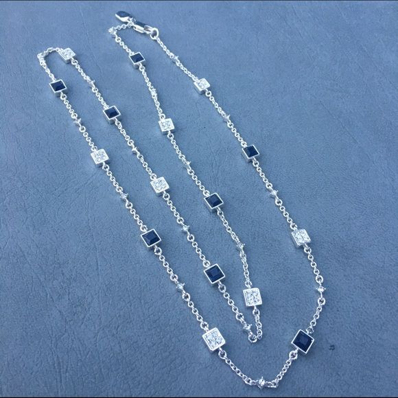 Ralph Lauren Blue Crystal Necklace NWOT Long silver necklace with blue and clear crystals. Brand is Ralph Lauren. Stunning blue color and each equate piece is separated by a single crystal. 16in drop. Lobster clasp. Never worn. Ralph Lauren Jewelry Necklaces