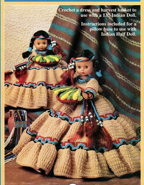 Vintage Crochet Pattern Harvest Moon Indian Princess Pillow Bed Doll Dress PDF Instant Digital Download Tan Native American 13 Doll Outfit