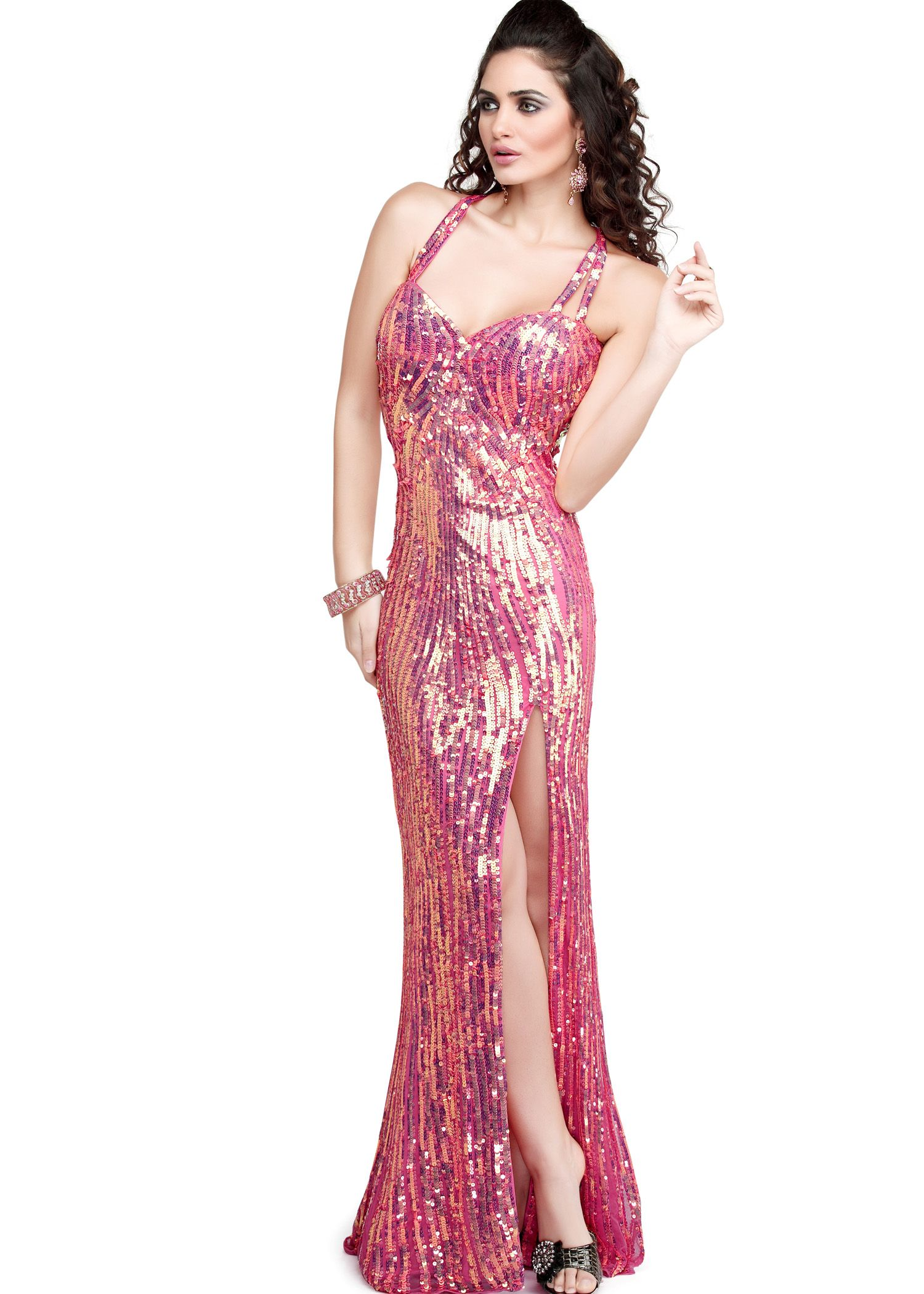 Free shipping on primavera coral sequin open back prom dresses