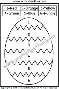 color by number easter worksheets easter eggs one worksheet