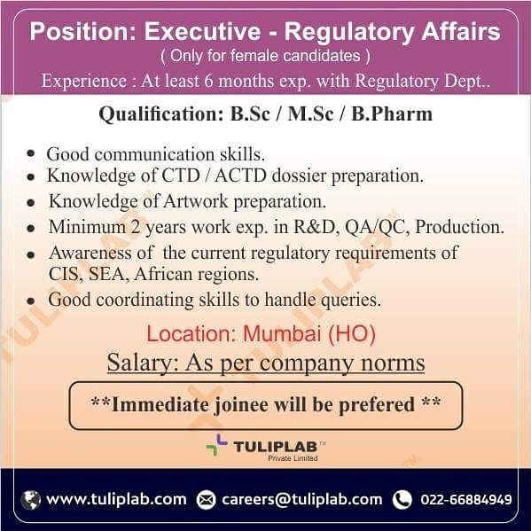 Urgent requirement for Executive - Regulatory Affairs** Experience - resume requirements