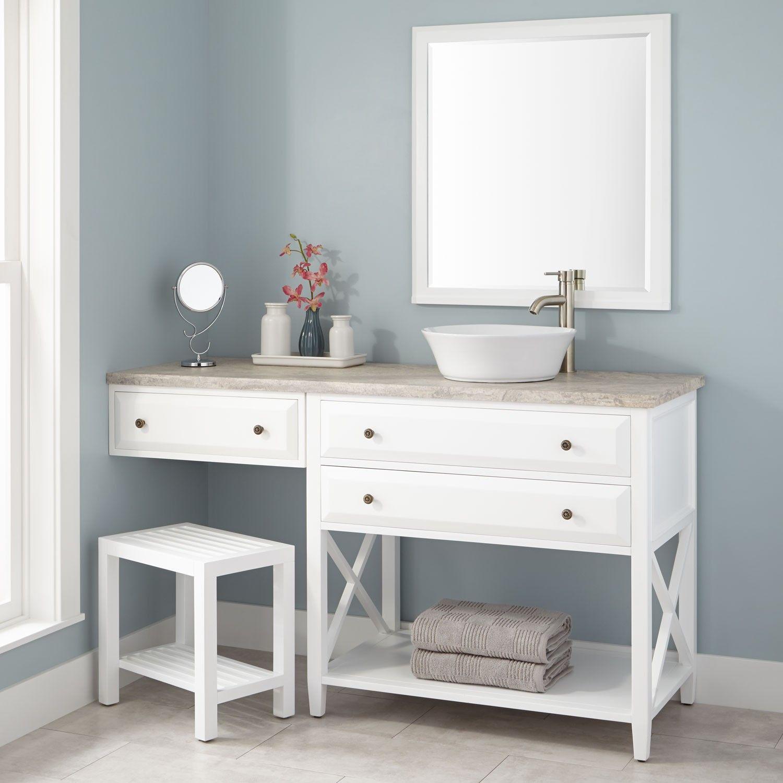 "60""+Glympton+Vessel+Sink+Vanity+with+Makeup+Area++White"