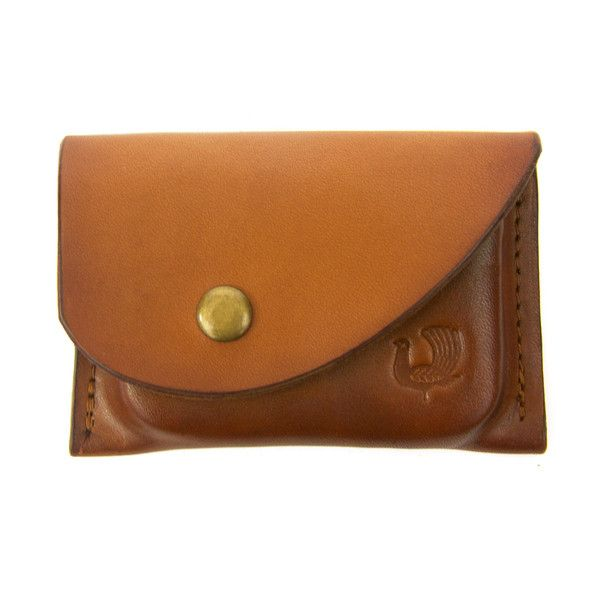 Change Pouch and Card Case in tan. Leather coin case made in the USA and helps organize your change and cards.