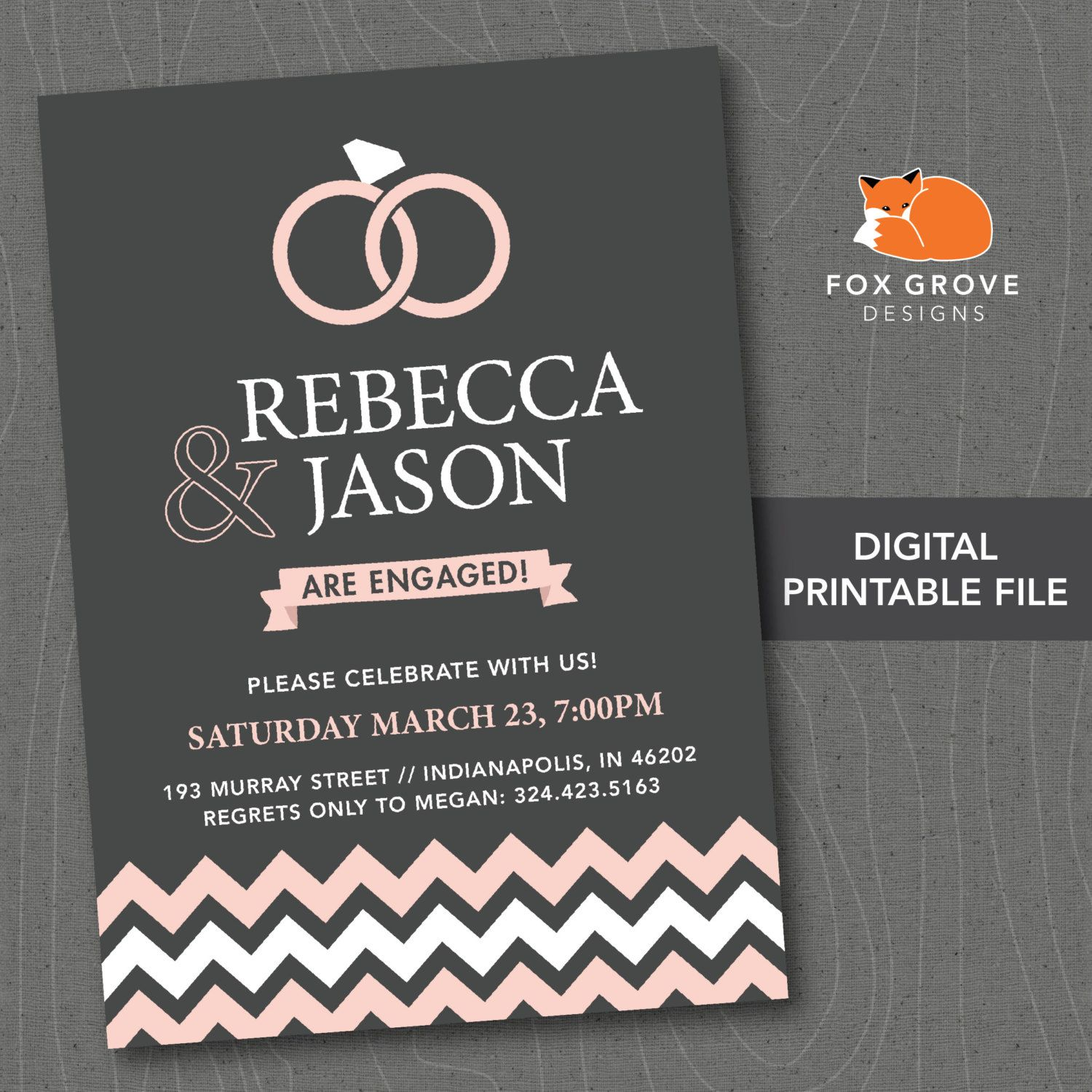 watercolor rings printable engagement party invitation customized