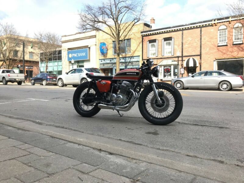 1974 honda cb750 sunrise orange metallic cafe racer brat
