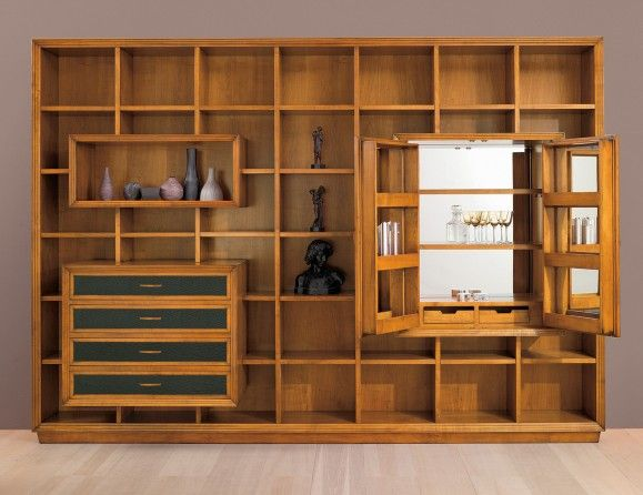 Italian Designer Modular Wall Unit And Bookcase System Handmade In Cherrywood Featuring A Bar Unit With Mirrored Bookcase Wall Unit Wall Bookshelves Wall Unit