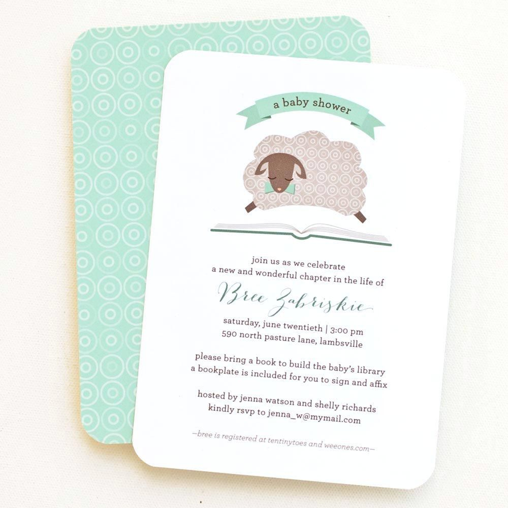 Baby Shower Invitation, Bring a Book Shower // LITTLE LAMB. $12.00 ...