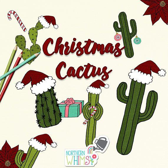 Christmas Cactus Clipart.Christmas Clip Art Fun Hand Drawn Christmas Themed Cacti