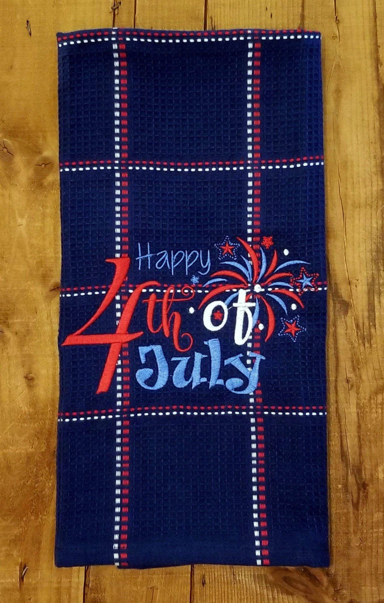 Embroidered Towels Happy 4th Of July Embroidered Waffle Weave