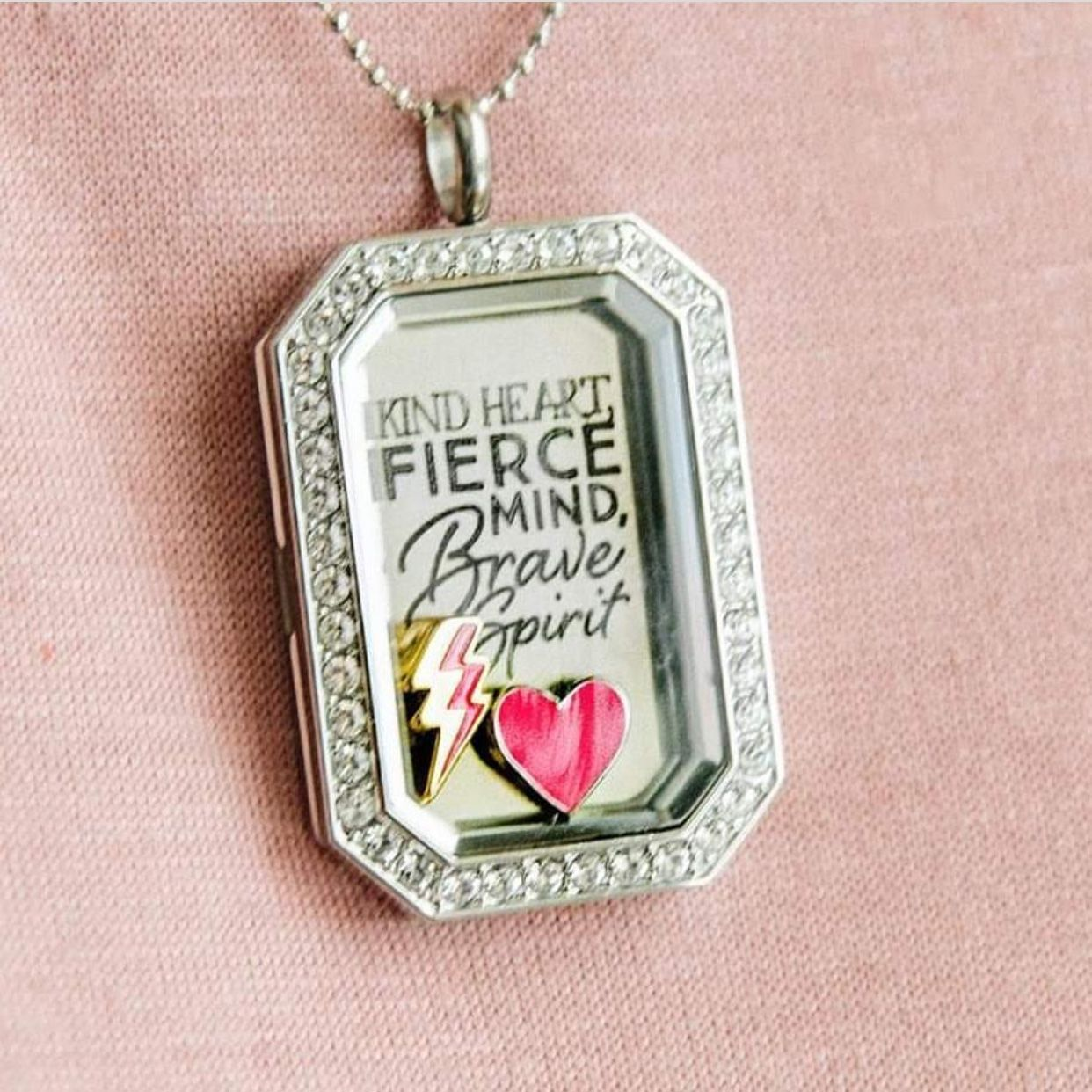 Origami owl stand against bullying with our beautiful silver origami owl stand against bullying with our beautiful silver kind heart fierce mind brave spirit heritage locket set featuring an exclusive inscribed jeuxipadfo Images