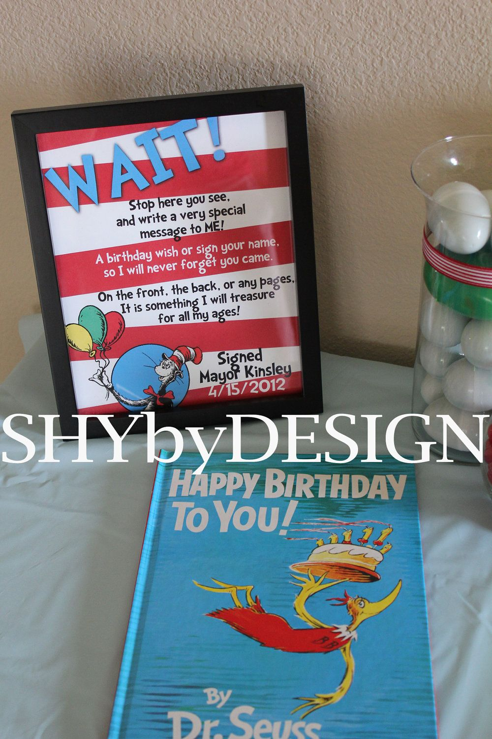 graphic about Dr Seuss Happy Birthday to You Printable called Customized PRINTABLE Dr. Seuss Birthday Ebook Signal Thank