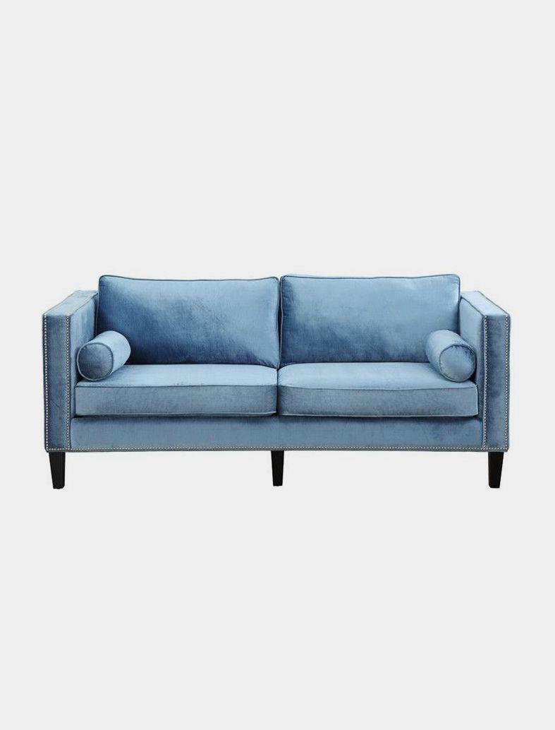 Velvet Sofa, Blue Velvet Sofa, Nailhead Sofa