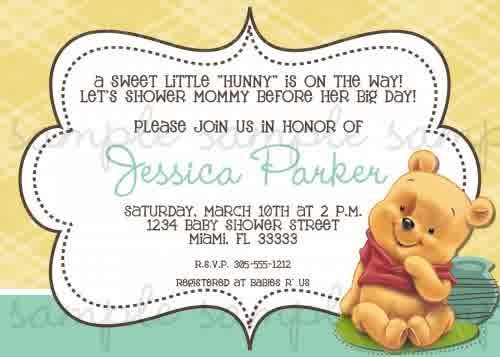 Baby shower invitations winnie the pooh baby shower invitations baby shower invitations winnie the pooh baby shower invitations cartoon yellow and green frame design filmwisefo Images