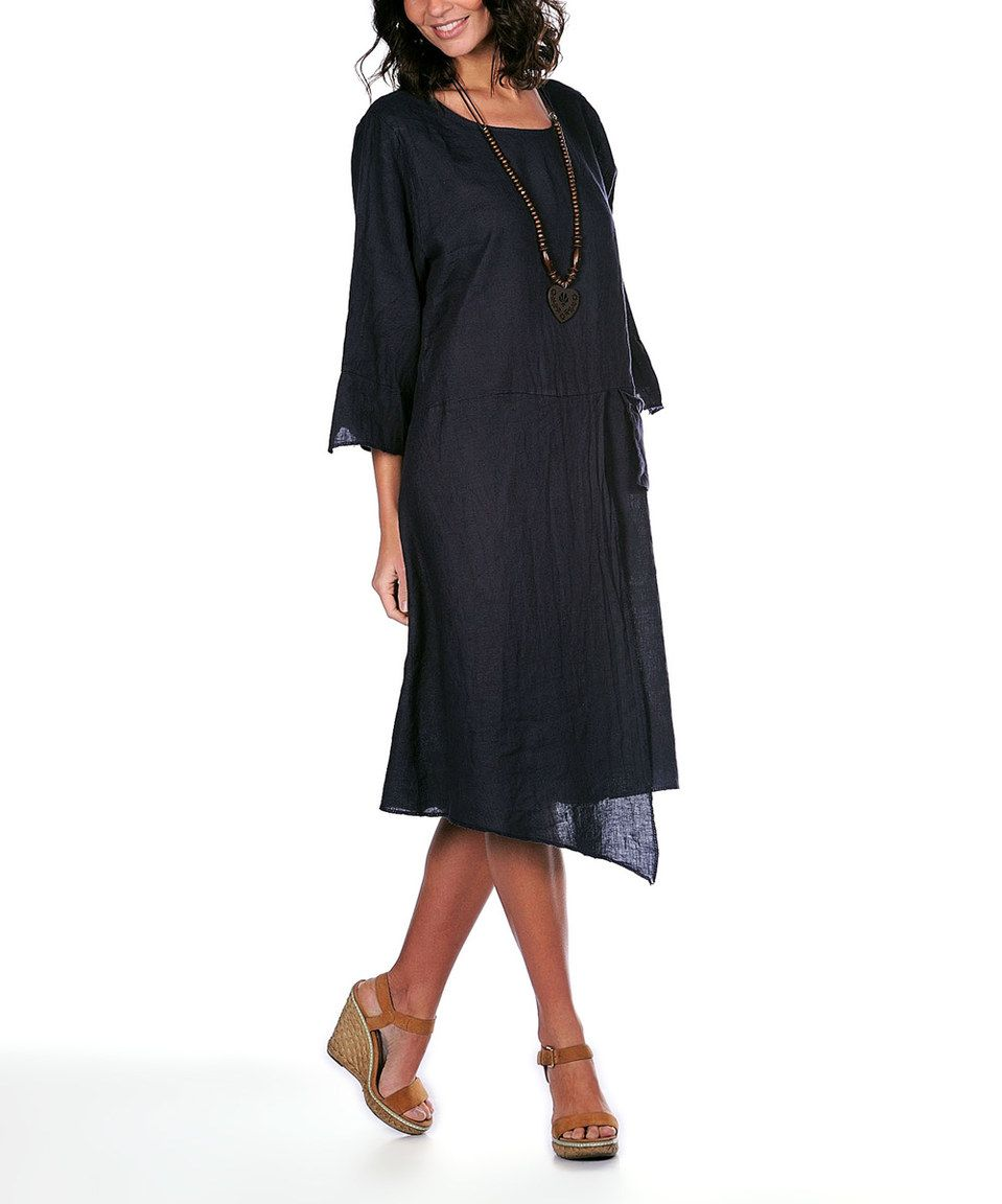 82dd4994683 Navy Blue Linen Shift Dress   Necklace by La Belle Parisienne  zulilyfinds