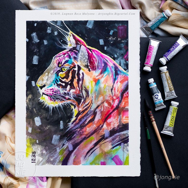 Image Of Neon Sky Tiger Arches Watercolor Paper Original