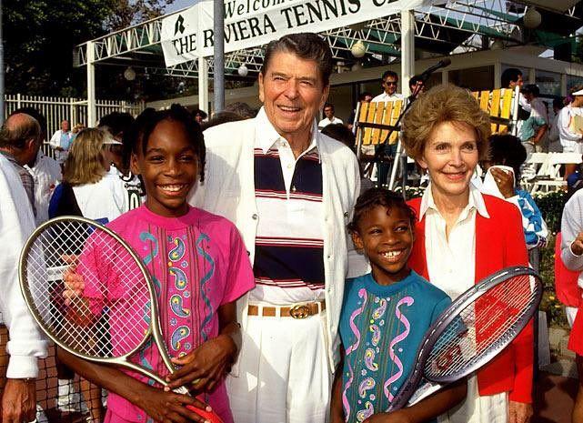 The Reagans meeting the aspiring tennis pros Venus and Serena Williams, 1990