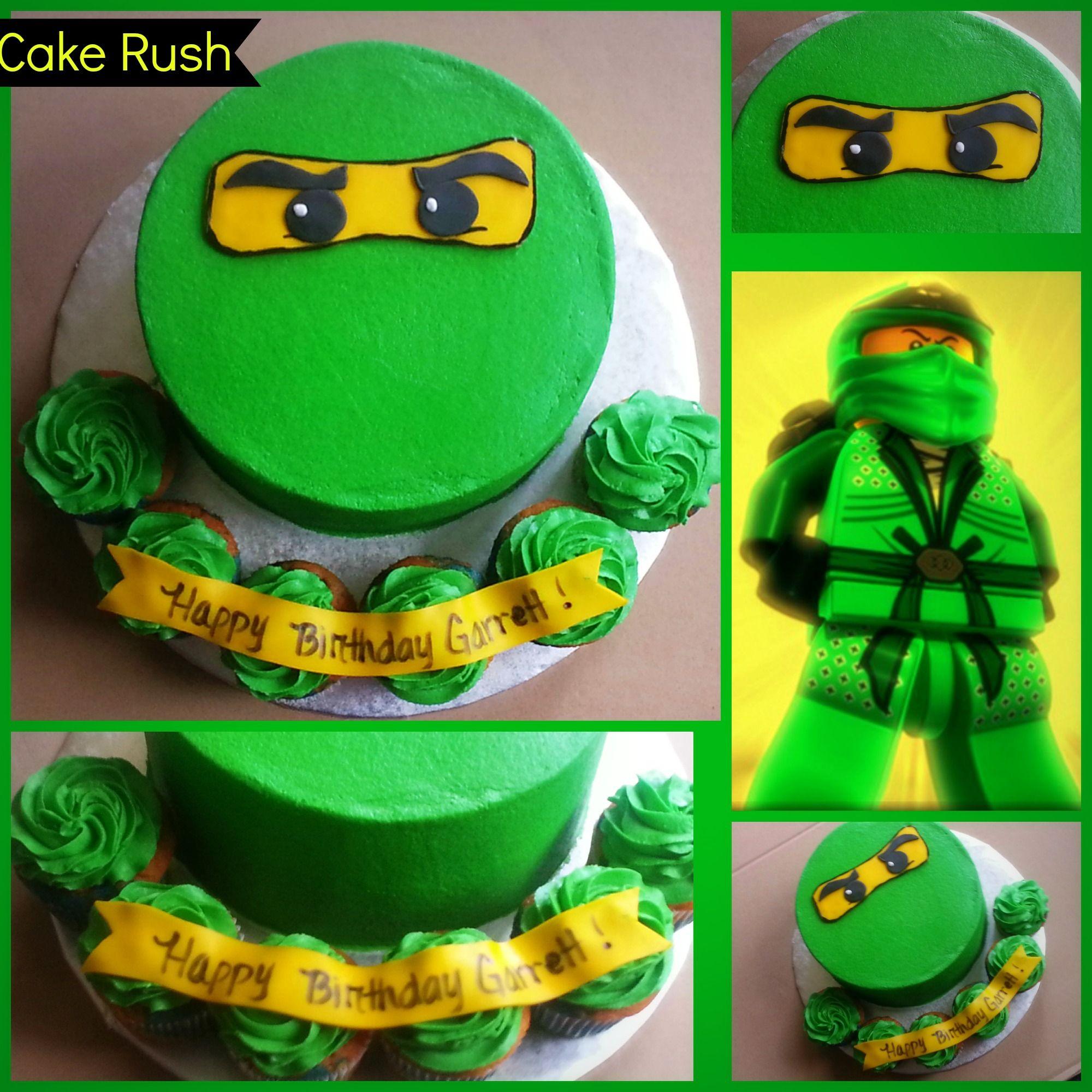 Green Lego Ninjago 8 Buttercream Cake 6 Cupcakes All Buttercream