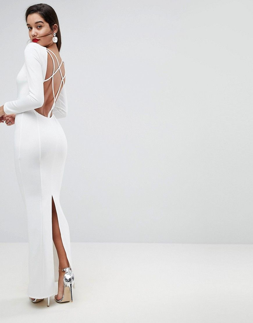 Long sleeve power shoulder open back maxi dress products