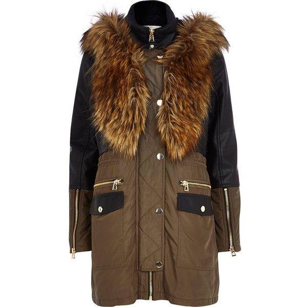River Island Khaki leather-look panel parka jacket (765 ARS ...