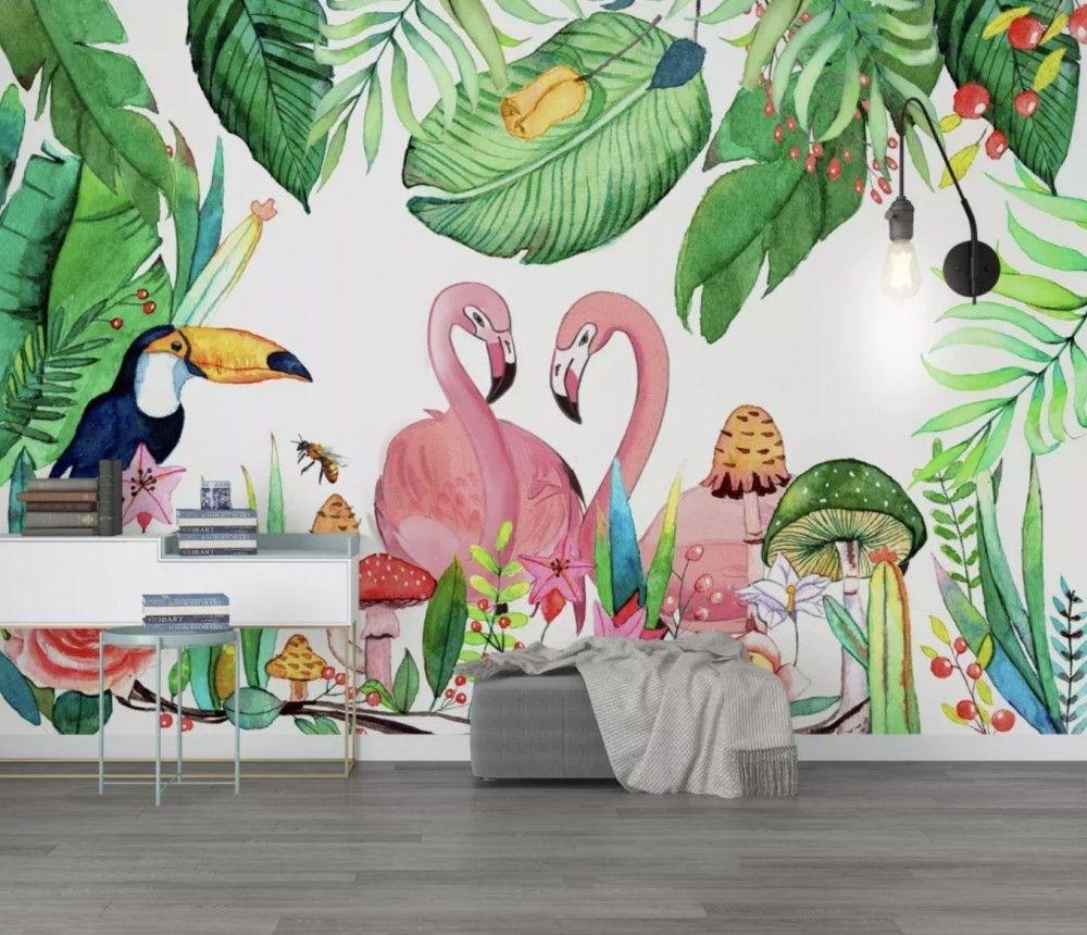 Flamingos with Toucan Bird Wallpaper Mural Nursery wall