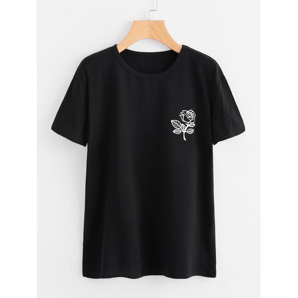 Plus Floral Print Tee In 2018 Anabellas Size Pinterest Minimal Blue Stripes Shirt Dress Combo Biru Xxl T Shirts Printed Tees Womens Fashion
