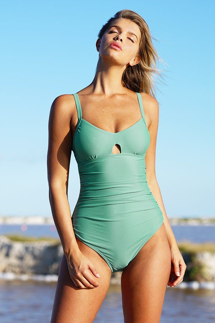 68660af6520e9 Cupshe Green Grass Solid One-piece Swimsuit | style in 2019 ...