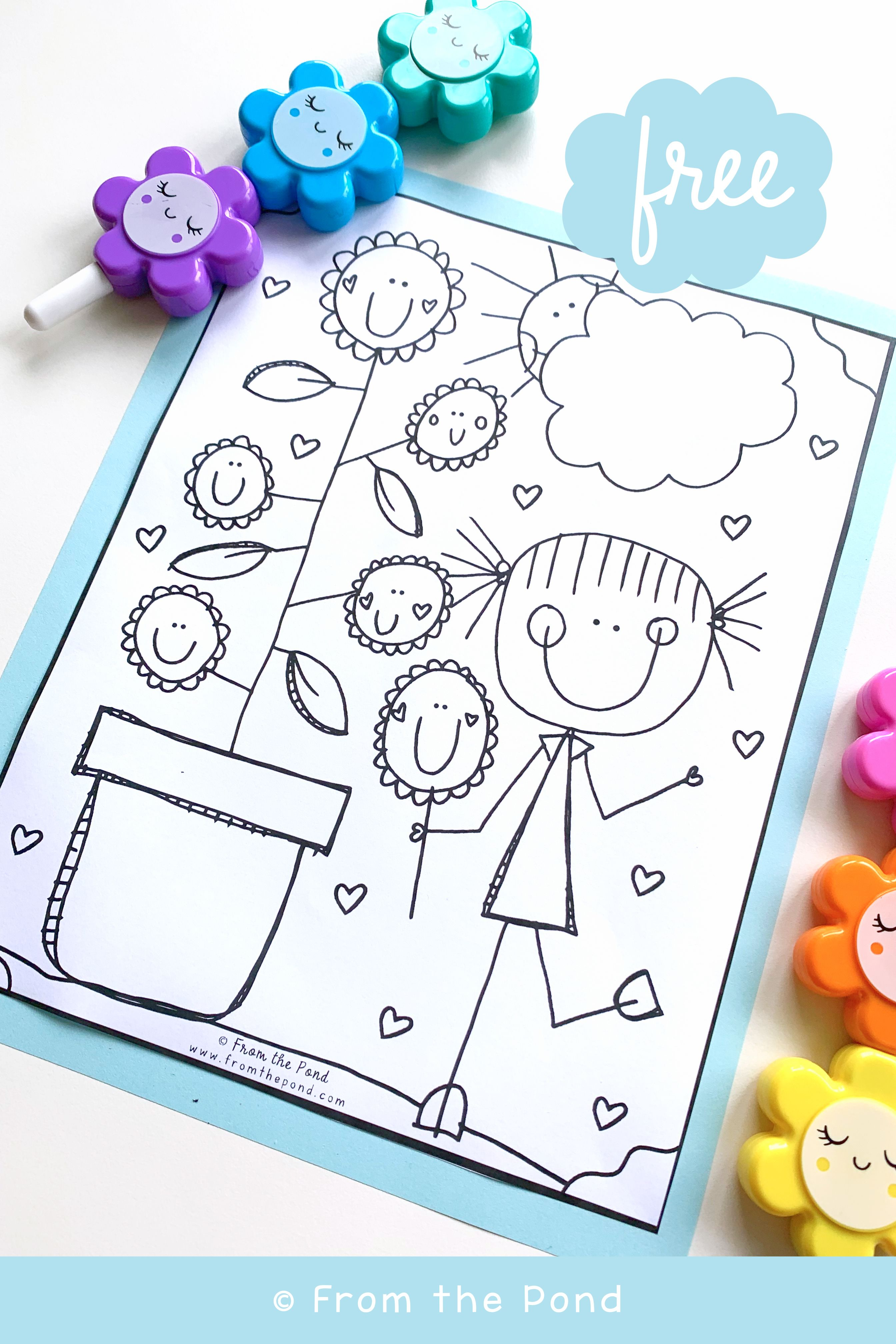 Free Flower Coloring Page Flower Coloring Pages Picking Flowers Coloring Pages [ 4032 x 2688 Pixel ]