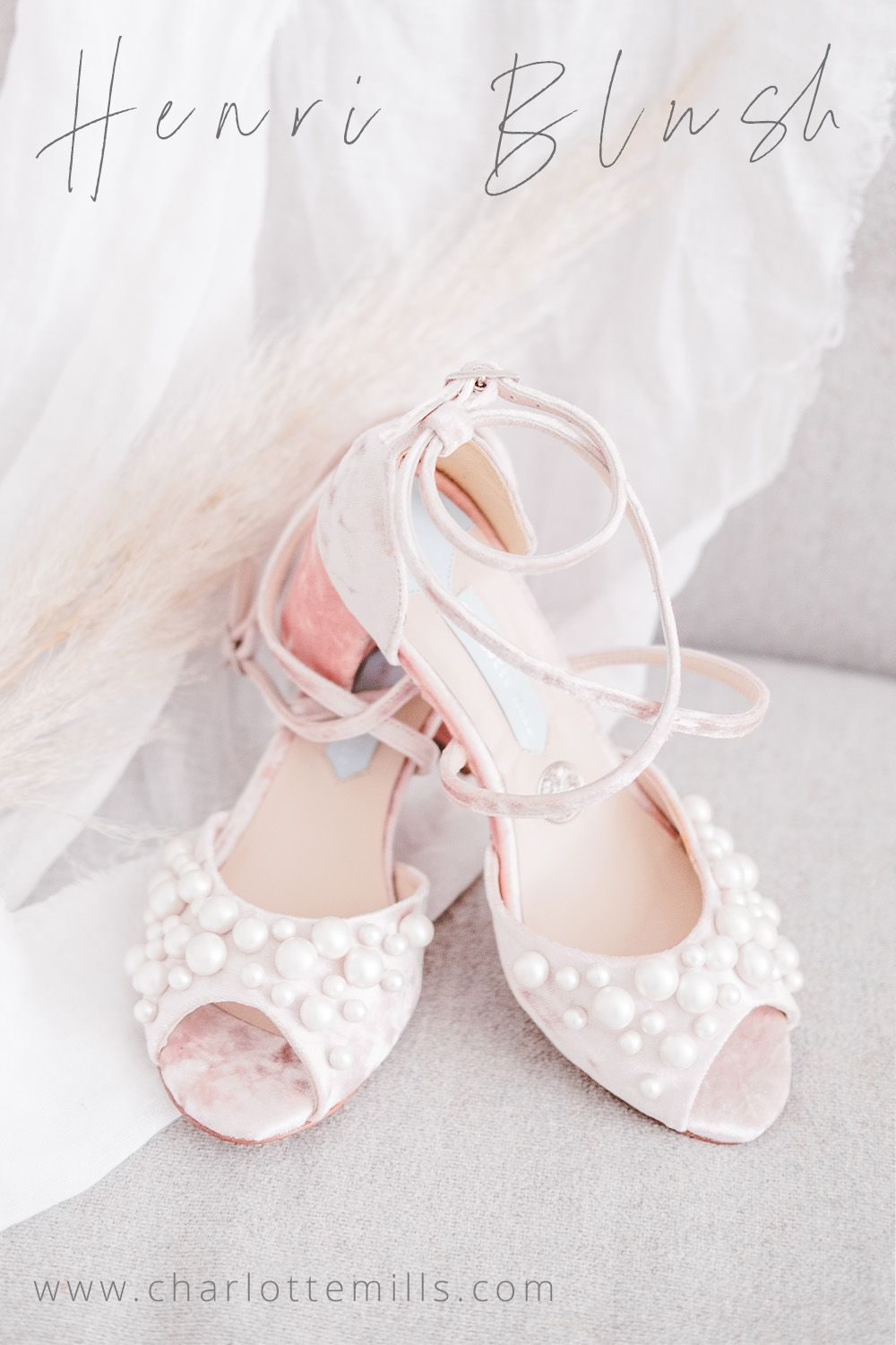 Crushed velvet luxury wedding shoes by Charlotte Mills