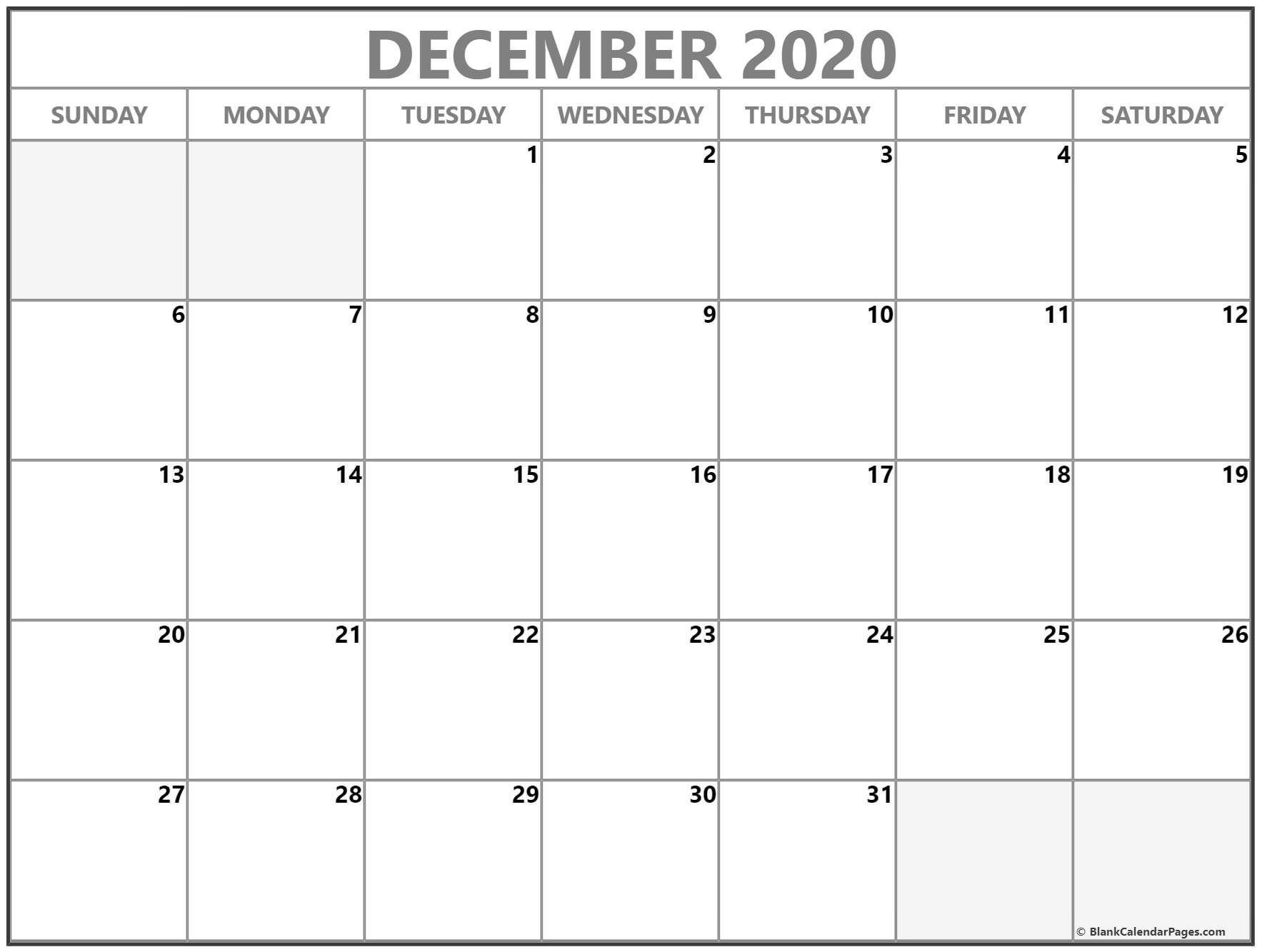 December 2020 Calendar Free Printable Monthly Calendars December 2020 Print Free Calendar D Calendar Printables Blank Calendar Pages Monthly Calendar Printable