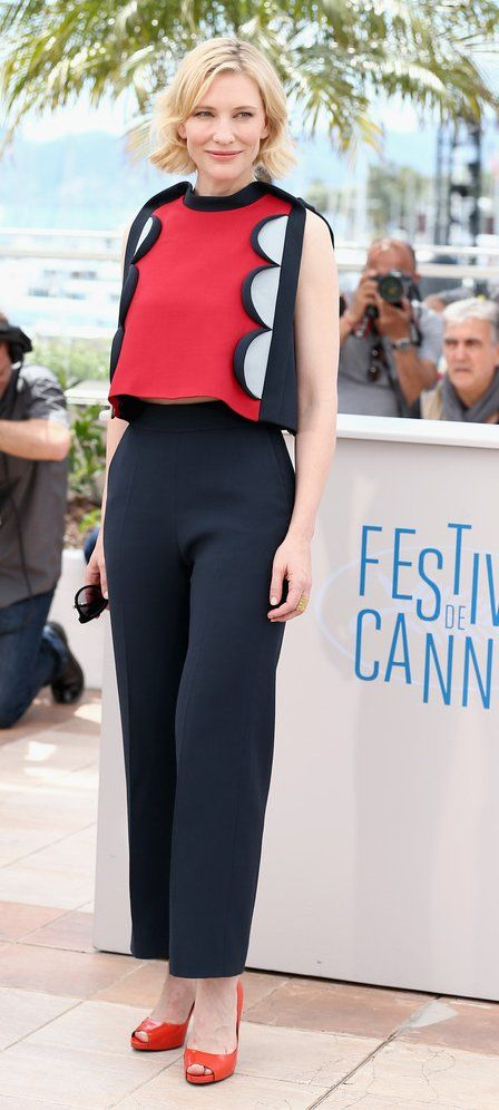 Cate Blanchett in Delpozo paired with Roger Vivier pumps attends the 'How To Train Your Dragon 2' photocall during the 67th Annual Cannes Film Festival. #bestdressed
