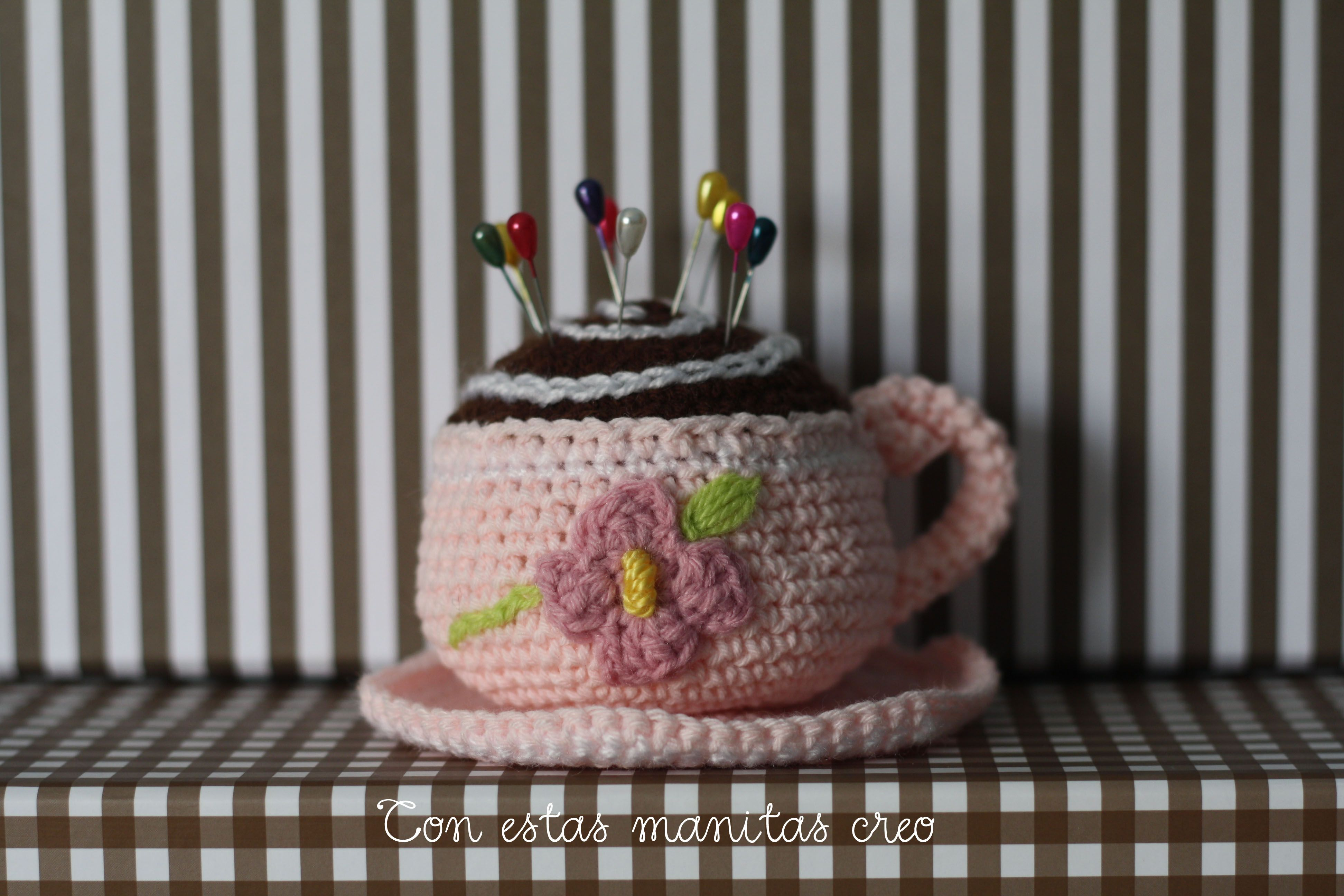 Alfiletero taza ganchillo-crochet