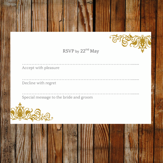 Gold RSVP card. Wedding template ready to edit and print ...