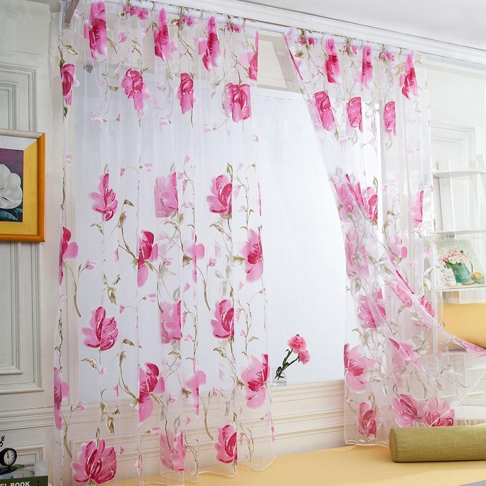Flower Tulle Drape Curtain For Door Window Drapes