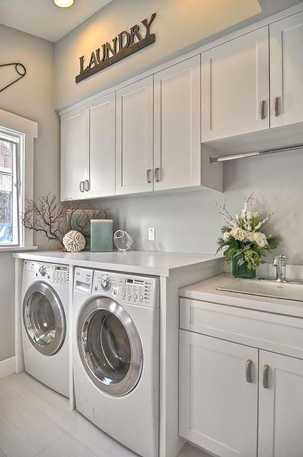 60 Amazingly inspiring small laundry room design ideas I like this design.  Washer/dryer side by side, plus the sink. I would have a different color  for the ... - 60 Amazingly Inspiring Small Laundry Room Design Ideas Washer