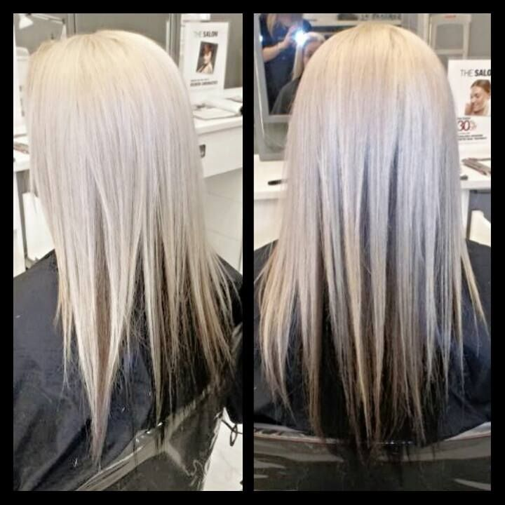 Solid White Blonde Platinum Color With Shiny Black