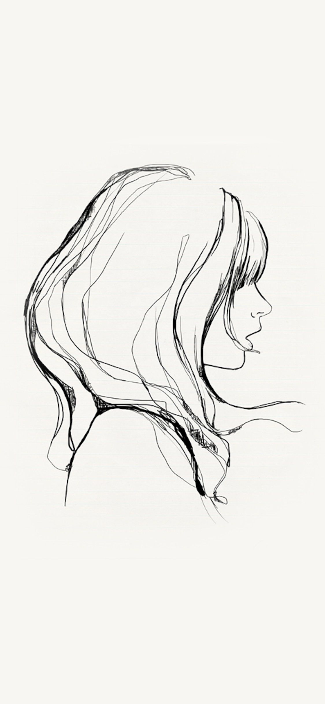 Iphonex Wallpaper Az87 Drawing Simple Minimal Girl Illustration