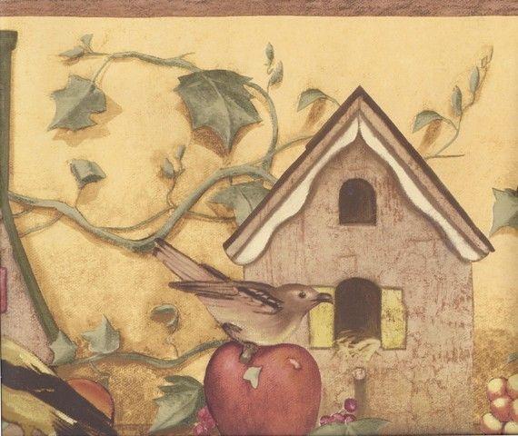 Wooden Yellow Apple Pear Birdhouses Wallpaper Border Wallpaper Border Wallpaper Yellow Apple