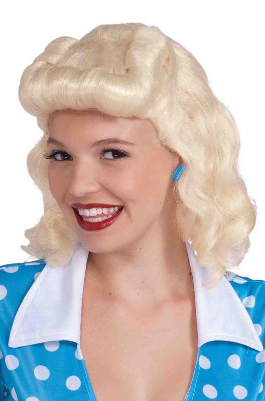 Ladies Vintage Retro Auburn Curly 1940/'s Glam Girl Landgirl Fancy Dress Wig