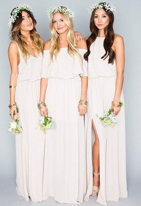 Chiffon Bohemian Bridesmaid Dress with Side Split | Bohemian Dresses ...