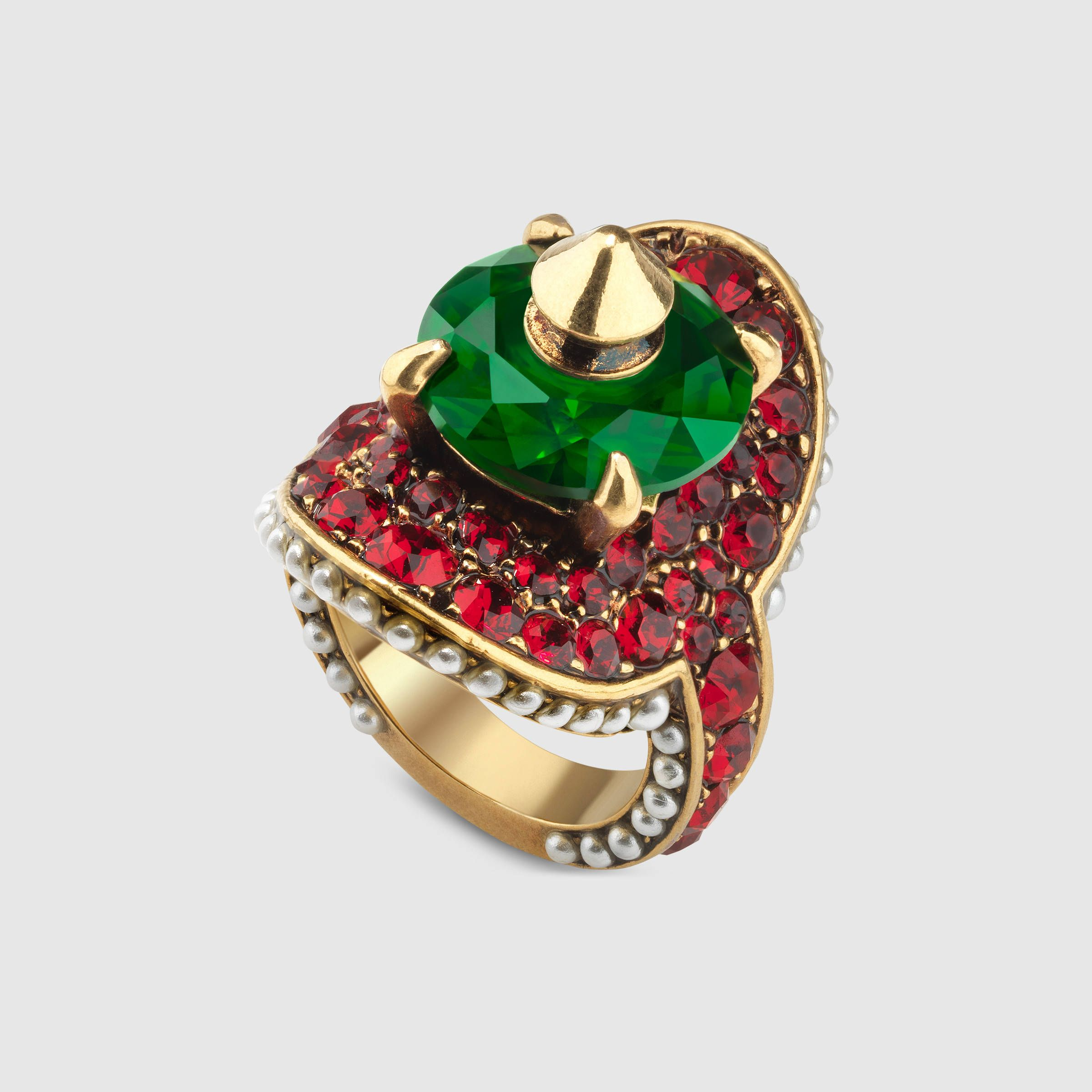 Gucci Ring With Stud And Crystals Detail 2 Rings Jewelry Fashion Gucci Jewelry Gold Rings Fashion