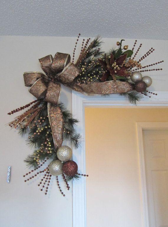 Christmas swag pine wreath bronze chocolate gold corner