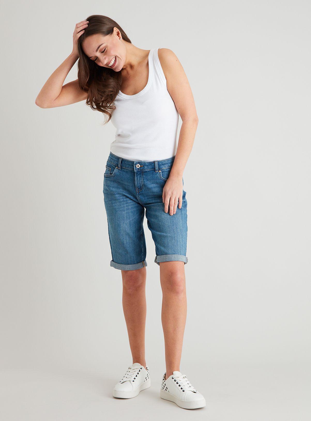 Women S Midwash Denim Bermuda Shorts In 2020 Lounge Wear Size