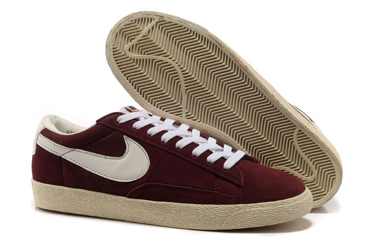 Men's Nike Shoes- Nike Blazer Low PRM Trainers Brown White