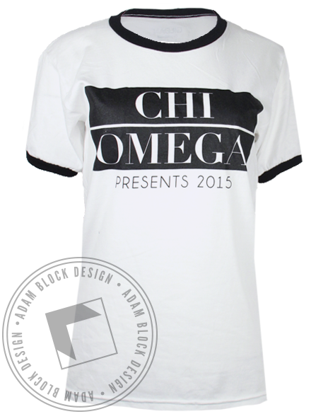 Chi Omega Presents Ringer Tee by Adam Block Design | Custom Greek Apparel & Sorority Clothes | www.adamblockdesign.com