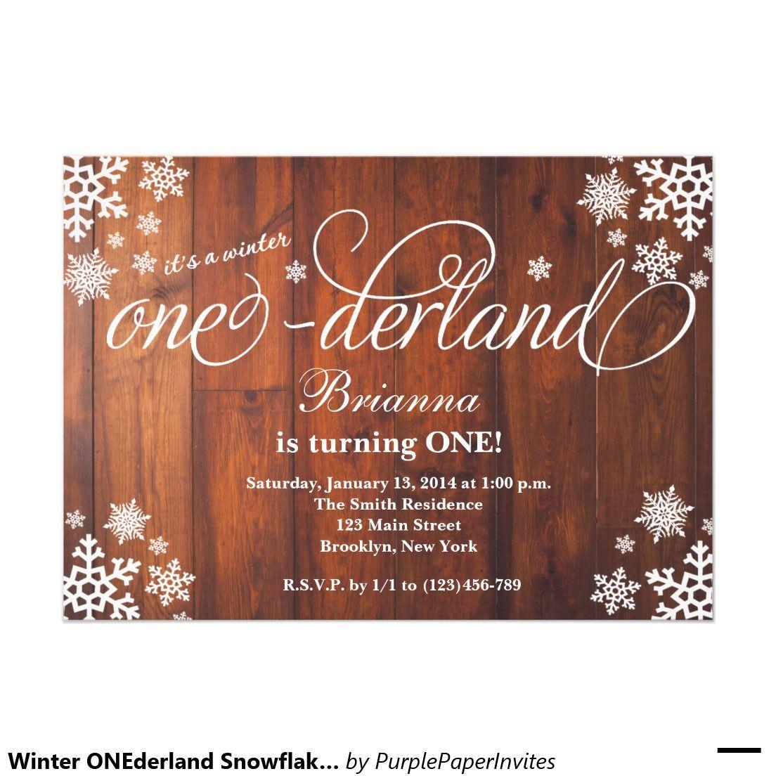 Winter onederland snowflake st birthday invite winter onederland