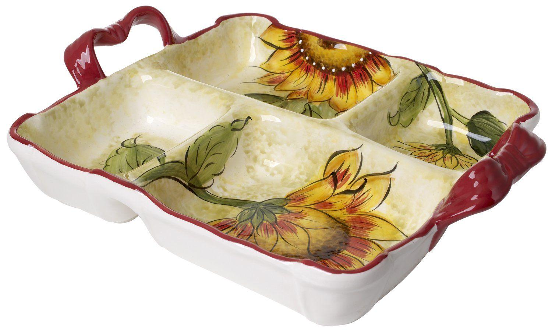 Amazon.com | Original Cucina Italiana Ceramic 4 Section Square Side ...